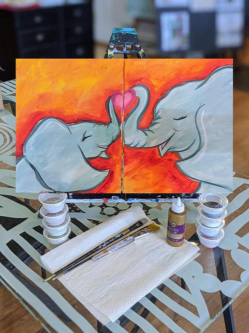 Canvas To-Go Kit: You & Me Elephants (set of 2 canvas)