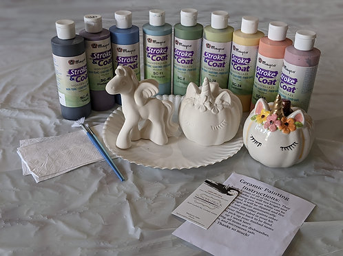 Unicorn Pumpkin &  Figurine Ceramic Combo