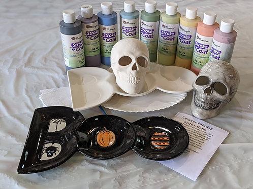 Ceramic Boo Plate & Skull Combo