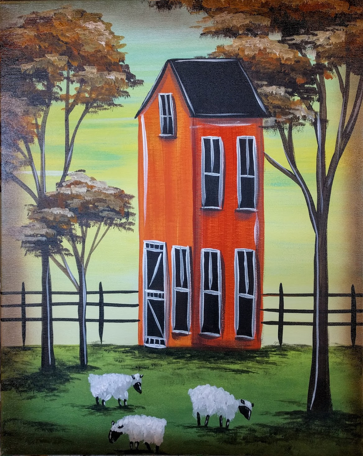 Folk Art House & Sheep