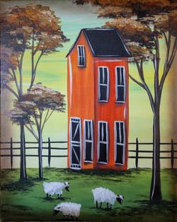 Folk Art House & Sheep