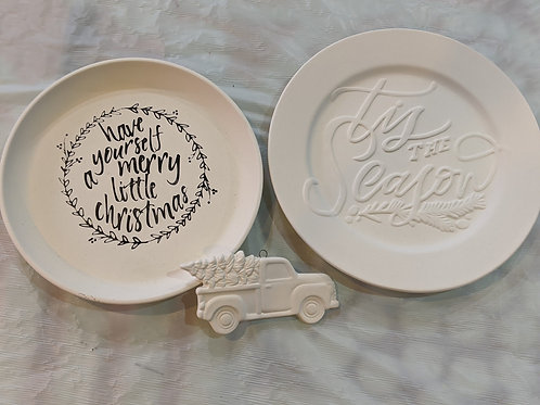 Set of 3 (2 Holiday Plates & Truck Ornament)