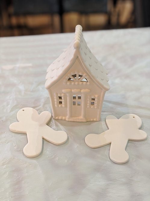 Gingerbread House with 2 Ornaments