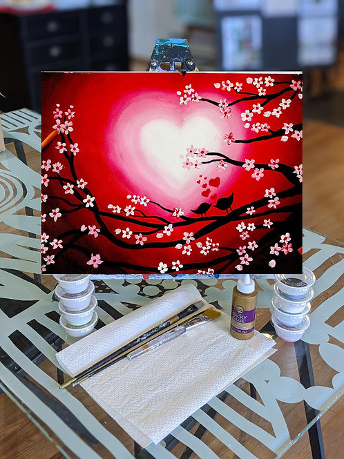 Canvas To-Go Kit: Love Birds in Red Skies