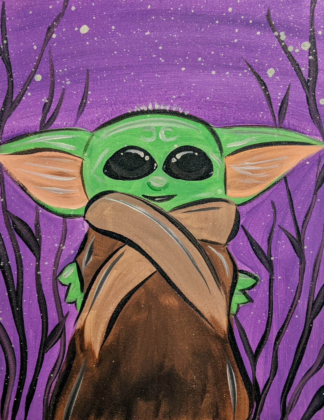 Kids Baby Yoda w/ Purple Background