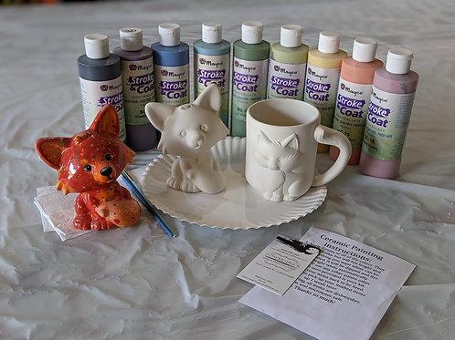 Fox Figurine & Fox Mug Ceramic Combo