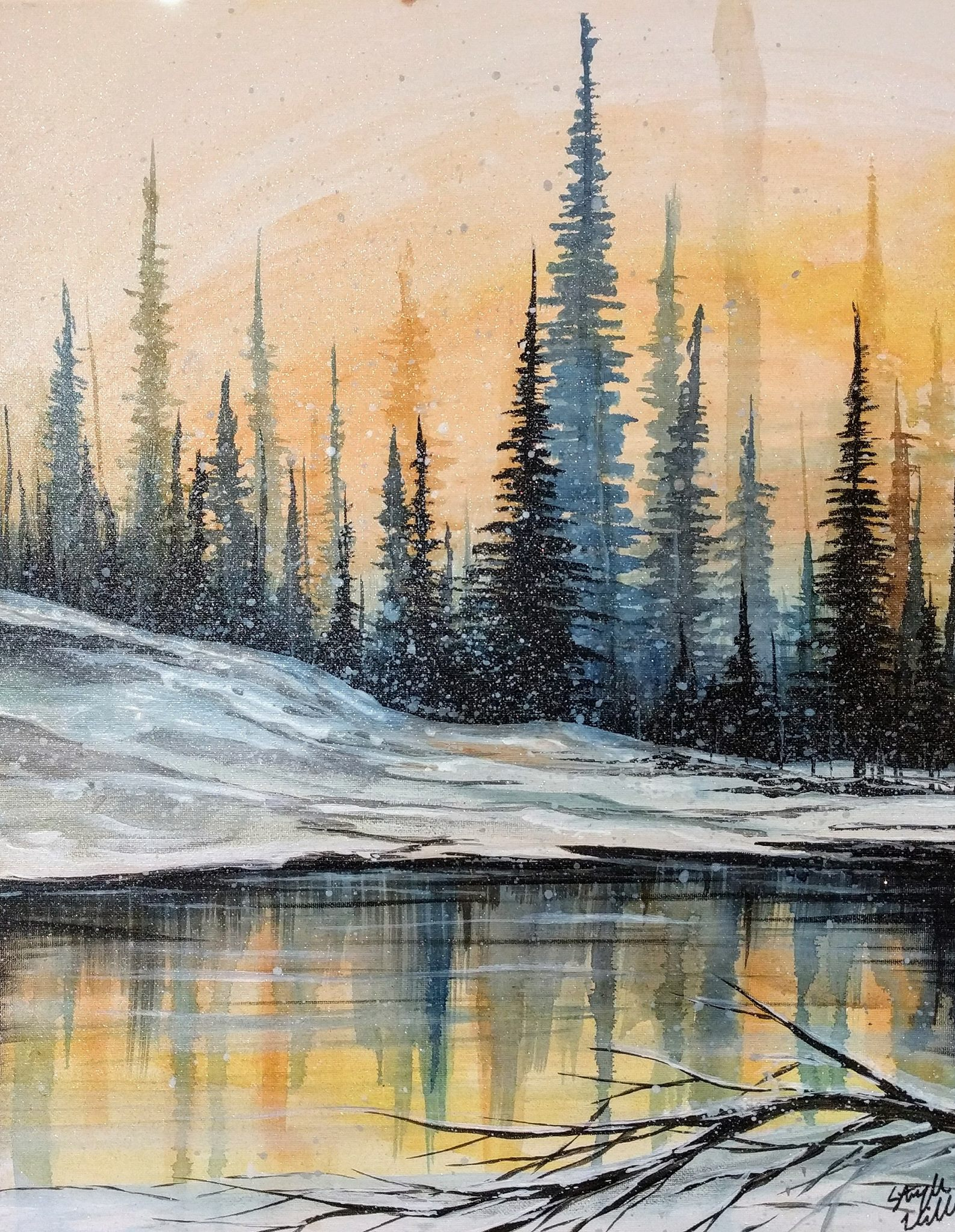 Winter Watercolor & Acrylic