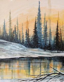 Winter Watercolor & Acrylic
