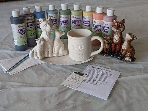 Ceramic Fox Family & Adventure Awaits Mug Combo