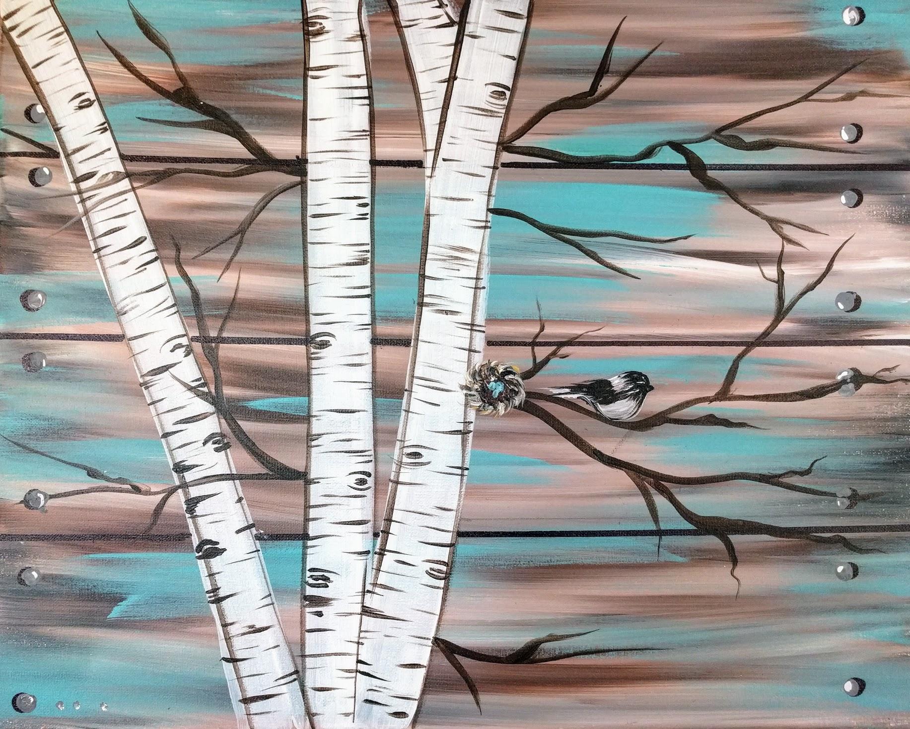 Canvas Birch & Bird