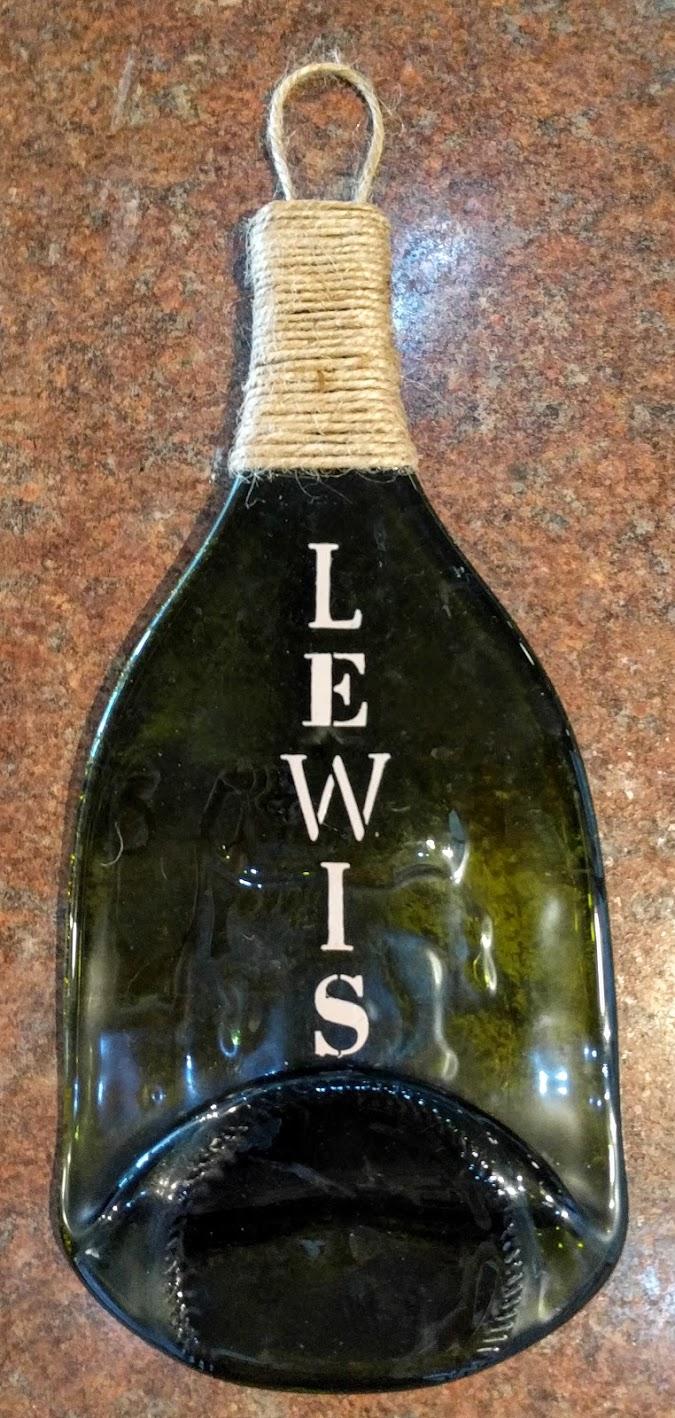 Slumped Bottle Painting w/ Twine $25