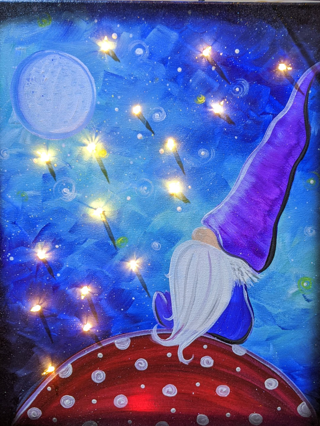 Star Gazing Gnome with Lights