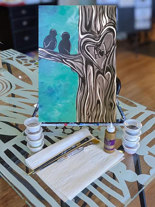 Canvas To-Go Kit: Love Birds Tree