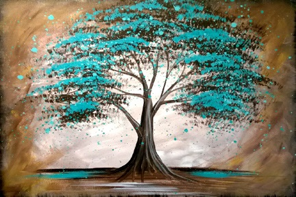 Teal Oak Tree