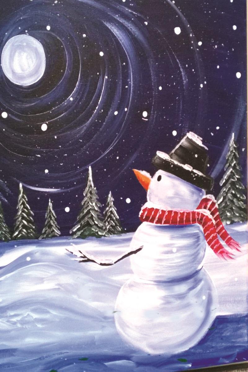 Snowman in Moonlight