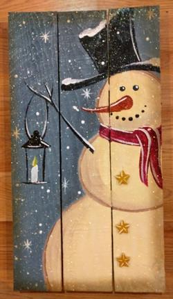 Snowman w Lantern Pallet