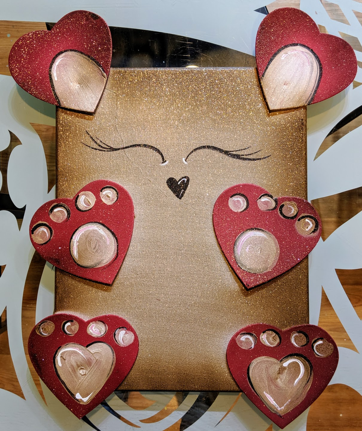 Hearts Bear Canvas