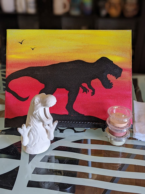 Pre-sketched T-Rex Canvas & Ceramic Bank