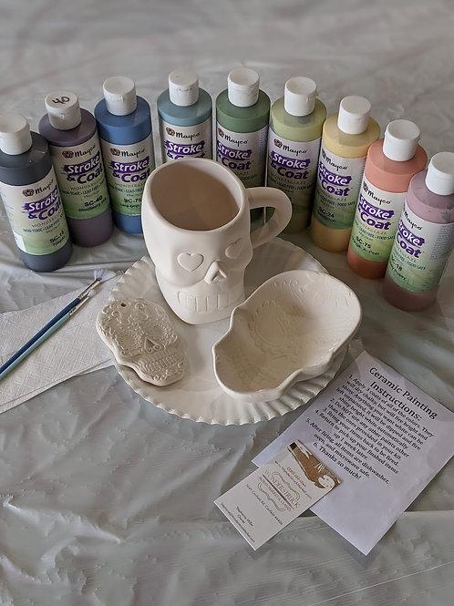 Ceramic Sugar Skull Trio (Mug, Dish, & Ornament)