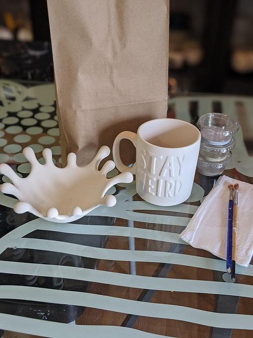 Splash Dish & Stay Weird Mug Combo