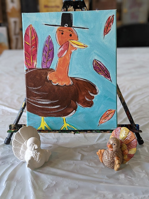 Happy Turkey Canvas and Ceramic Combo