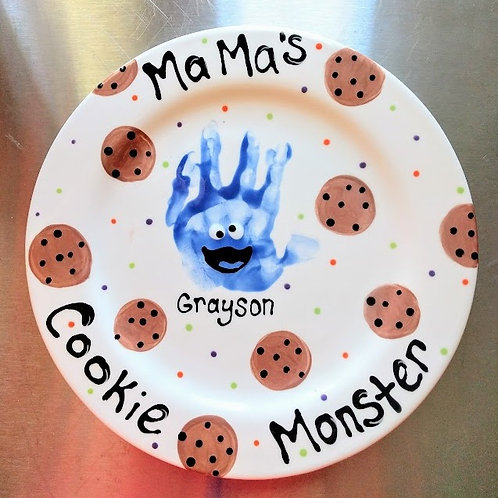 Ceramic Handprint Cookie Monster Plate Kit