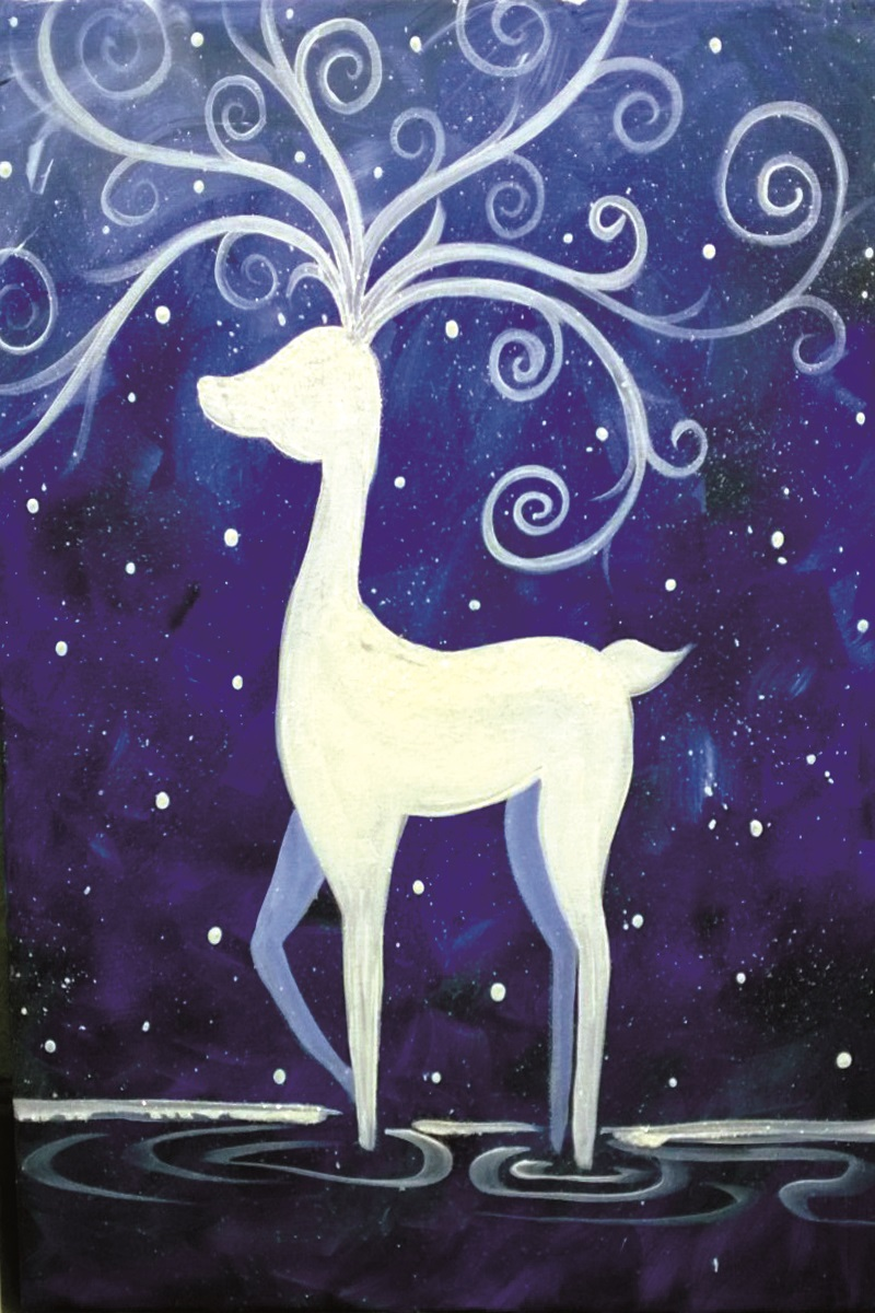 White Stag in Blue
