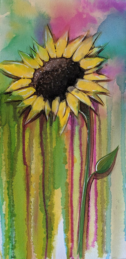 Watercolor Sunflower on Canvas
