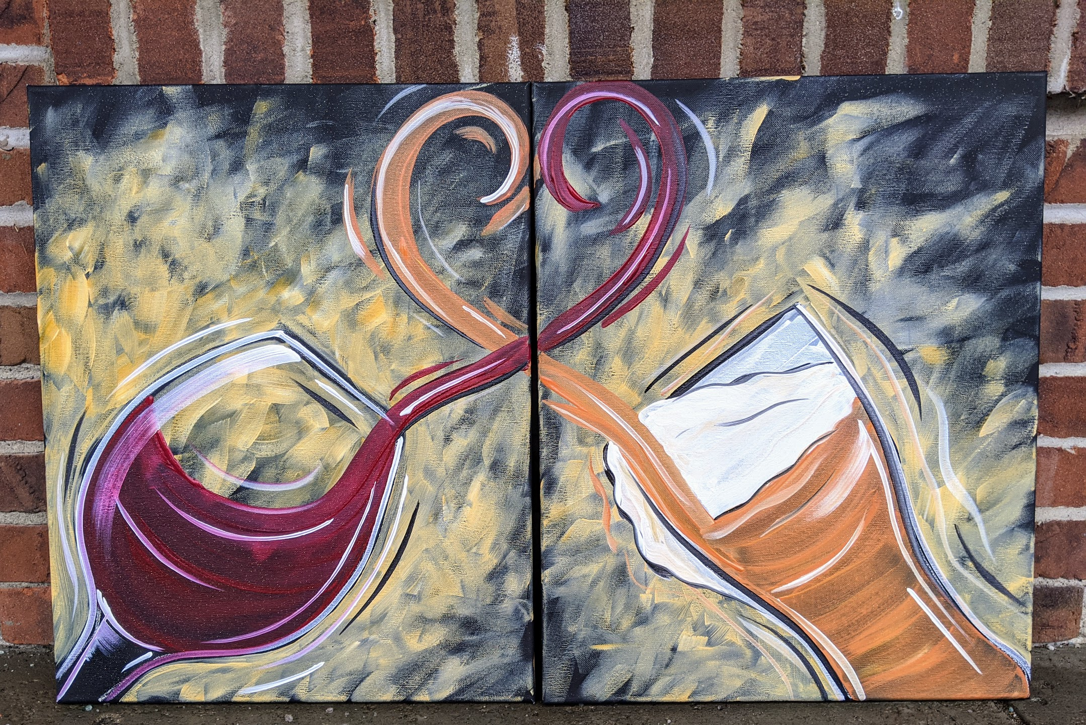 Couple's Wine & Beer Canvas