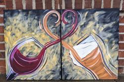 Couple's Wine & Beer Canvas