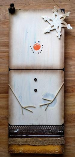 Marshmallow Snowman on Wood