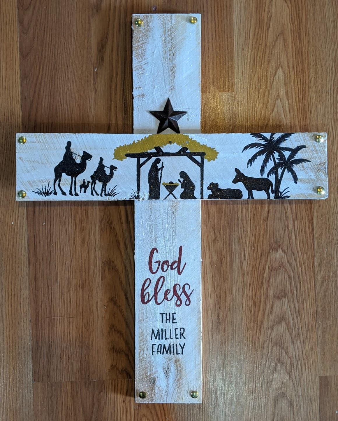 God Bless Wooden Cross