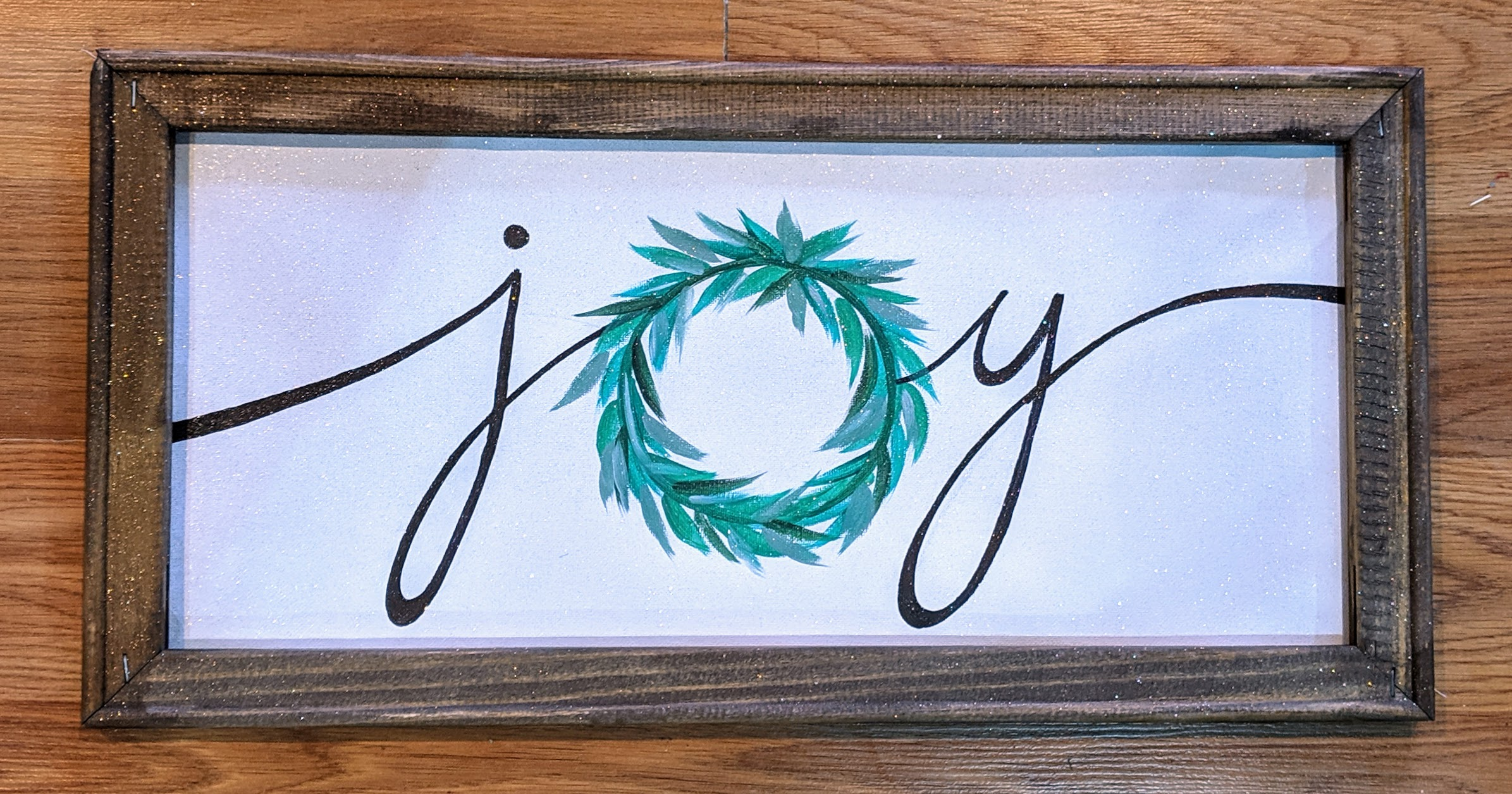 Joy Wreath Reverse Canvas
