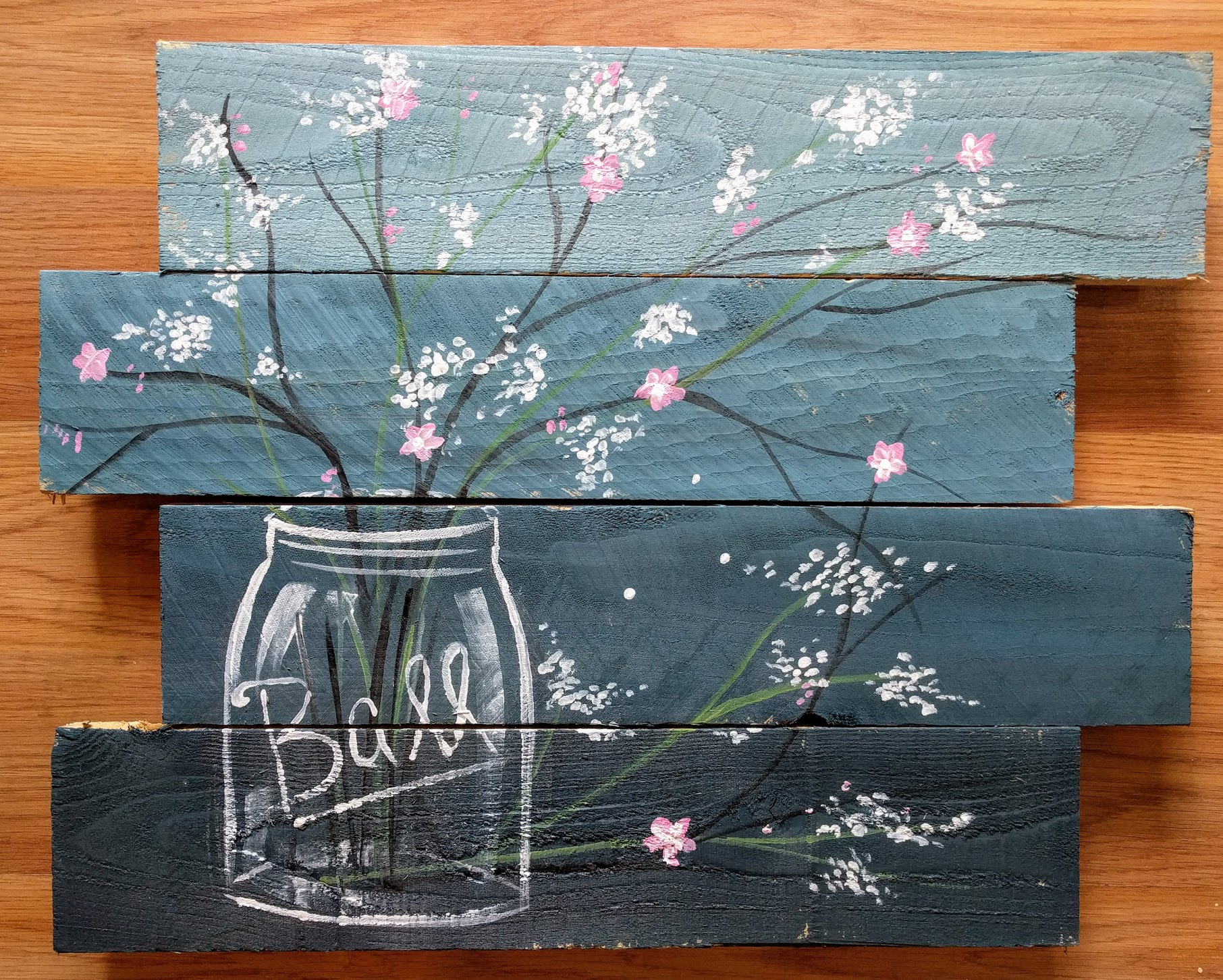 Ball Jar Painting on Pallet