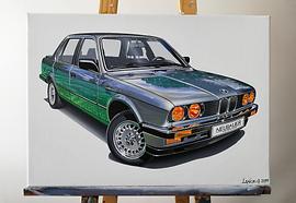BMW E30 323i ARTWORK _ ACRYLIC PAINTING