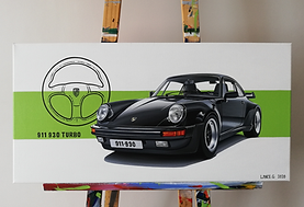 Porsche 911 930 Artwork   Acrylic Painting