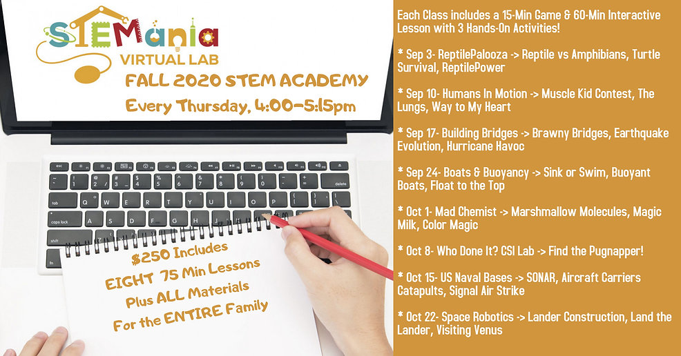 STEMania Fall 2020 STEM Academy Virtual