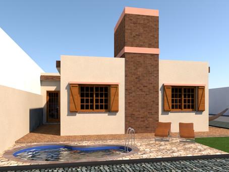 Planta baixa com as medidas: 3 casas geminadas de 50m2 cada