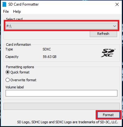 SC Card Formatter - Step 1