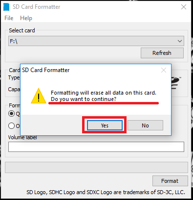 SD Card Formatter - Step 2