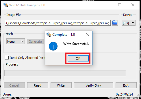 Win32 Disk Imager - Step 4