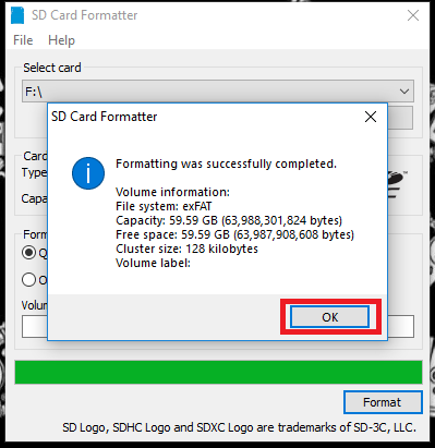 SD Card Formatter - Step 3