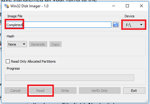 Win32 Disk Imager - Create Image