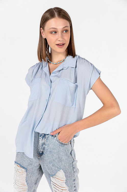 Kadın Mavi Çift Cepli Kolsuz Gömlek