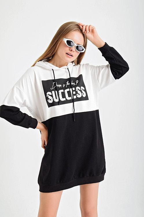 Succes Baskı Çift Renk Kapşonlu Sweat Elbise