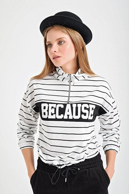 Because Baskılı Yakası Fermuarlı Çizgili Sweatshirt