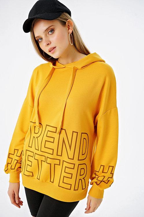 Trend Setter Baskı Kapüşonlu Sweatshirt