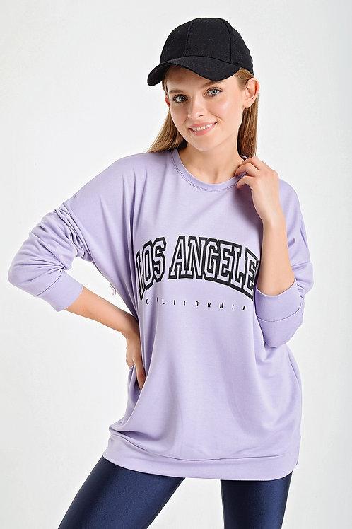 Los Angelas Baskılı Bisiklet Yaka Sweatshirt