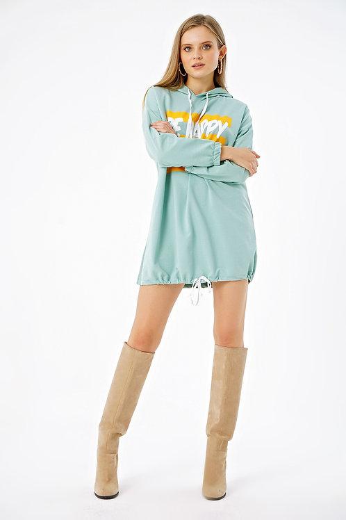 Be Happy Baskılı Eteği Büzgülü Kapüşonlu Oversize Sweat Elbise