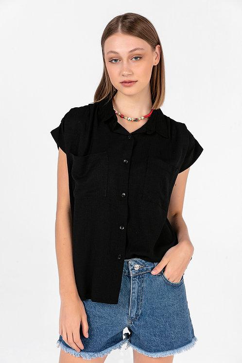 Kadın Siyah Çift Cepli Kolsuz Gömlek
